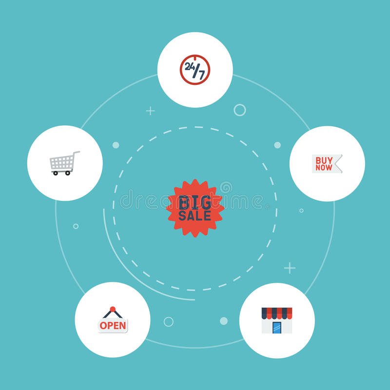 Плоская покупка значков теперь, поддержка, вагонетка и другие элементы вектора Комплект символов значков магазина плоских также в иллюстрация вектора