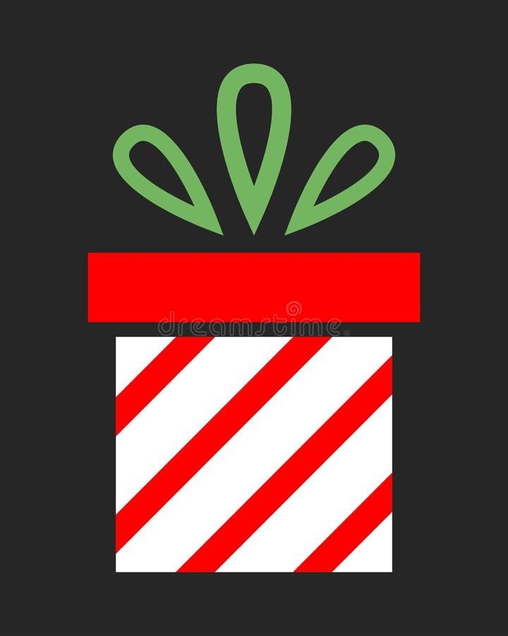 Плоская подарочная коробка значка цвета на темной предпосылке Сюрприз на праздник иллюстрация штока