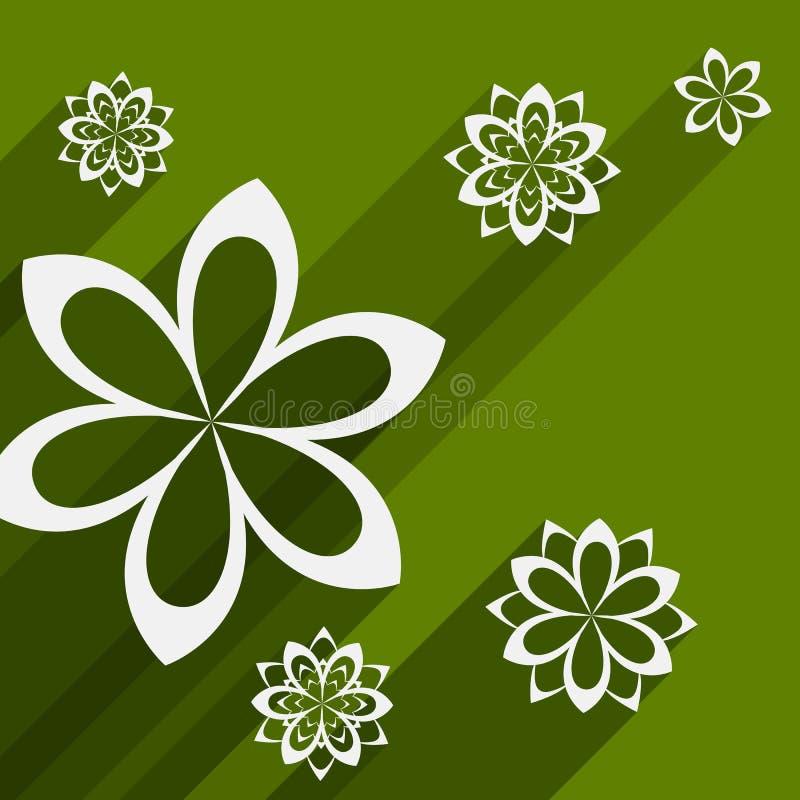 Плоская предпосылка дизайна с абстрактными цветками иллюстрация штока