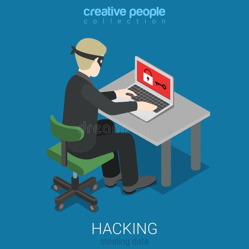 Плоская равновеликая безопасность нападения хакера вектора 3d рубя пароль бесплатная иллюстрация