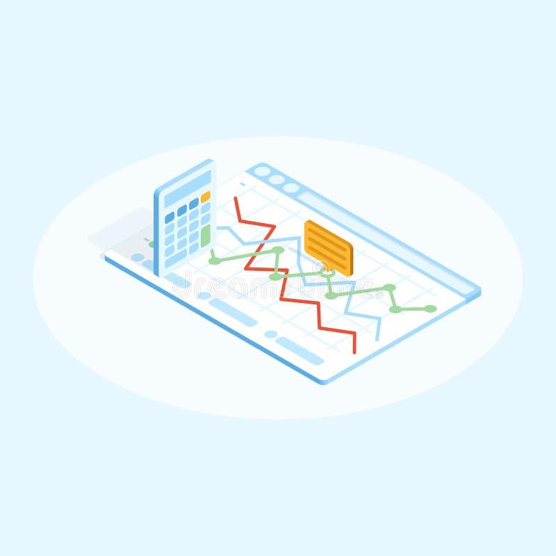 Плоская равновеликая иллюстрация калькулятора и диаграммы в браузере Финансовая идея проекта бесплатная иллюстрация