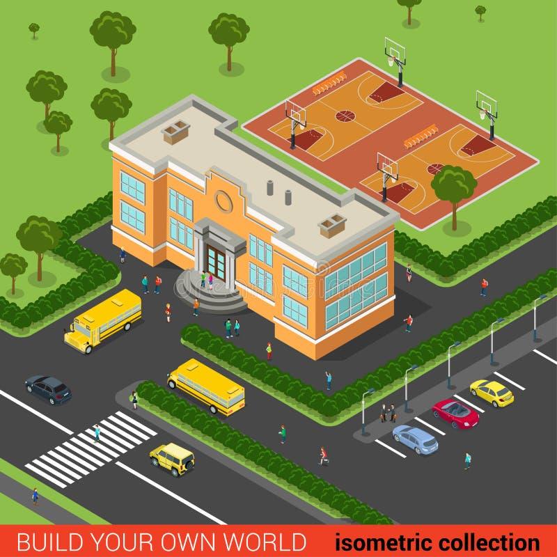 Плоская равновеликая шина школьного здания образования бесплатная иллюстрация