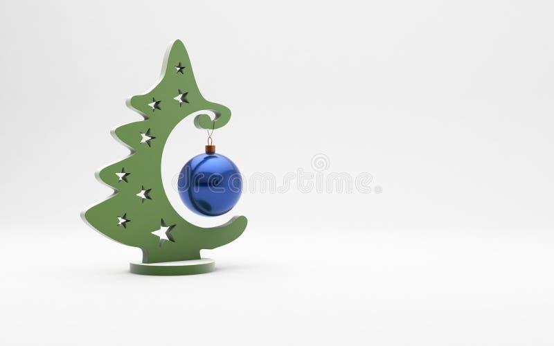 Плоская рождественская елка с голубой игрушкой на предпосылке циновки стоковое изображение rf