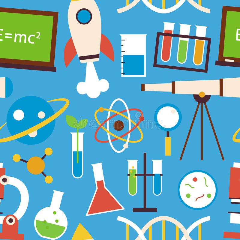 Плоские безшовные объекты науки и образования картины над синью иллюстрация штока