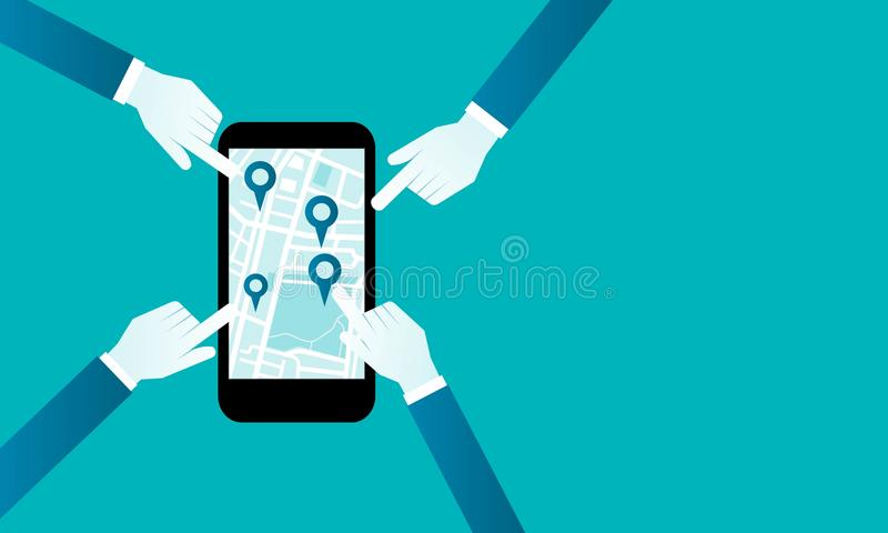 Плоские бизнесмены руки вектора с картой навигации в мобильном телефоне иллюстрация вектора