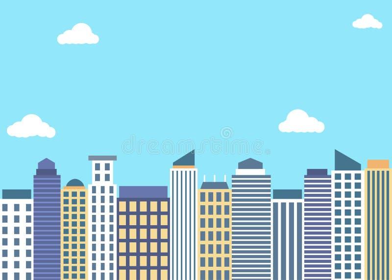 Плоские высокие здания стиля под голубым небом иллюстрация вектора