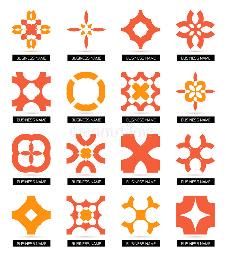 Плоские геометрические символы дела. Комплект значка иллюстрация штока