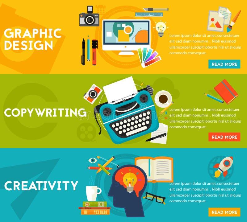 Плоские знамена концепции Графический дизайн, Copywriting, творческие способности бесплатная иллюстрация