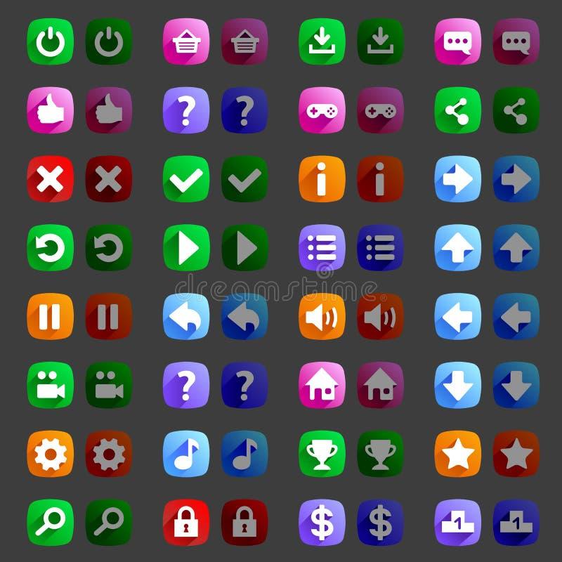 Плоские значки игры стиля застегивают значки, интерфейс бесплатная иллюстрация