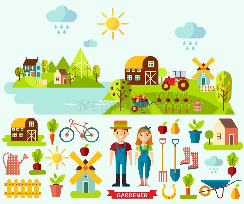 Плоские значки и панорамный сельский ландшафт с садовничая концепцией стоковая фотография rf