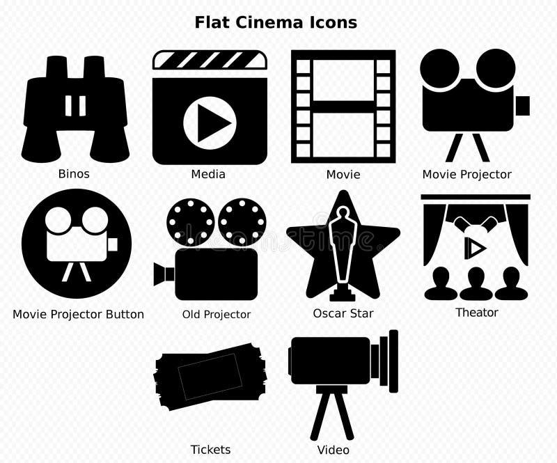 Плоские значки кино стоковые фотографии rf