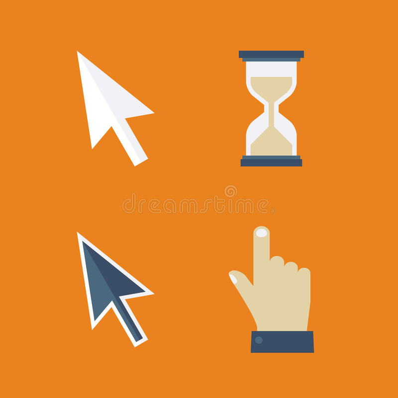 Плоские значки курсоров: стрелка, рука, часы, мышь иллюстрация вектора