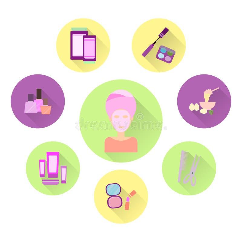 Плоские значки на теме заботы женщины бобра бесплатная иллюстрация