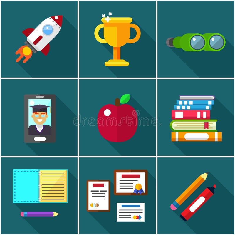 Плоские значки объектов элементов для образования бесплатная иллюстрация