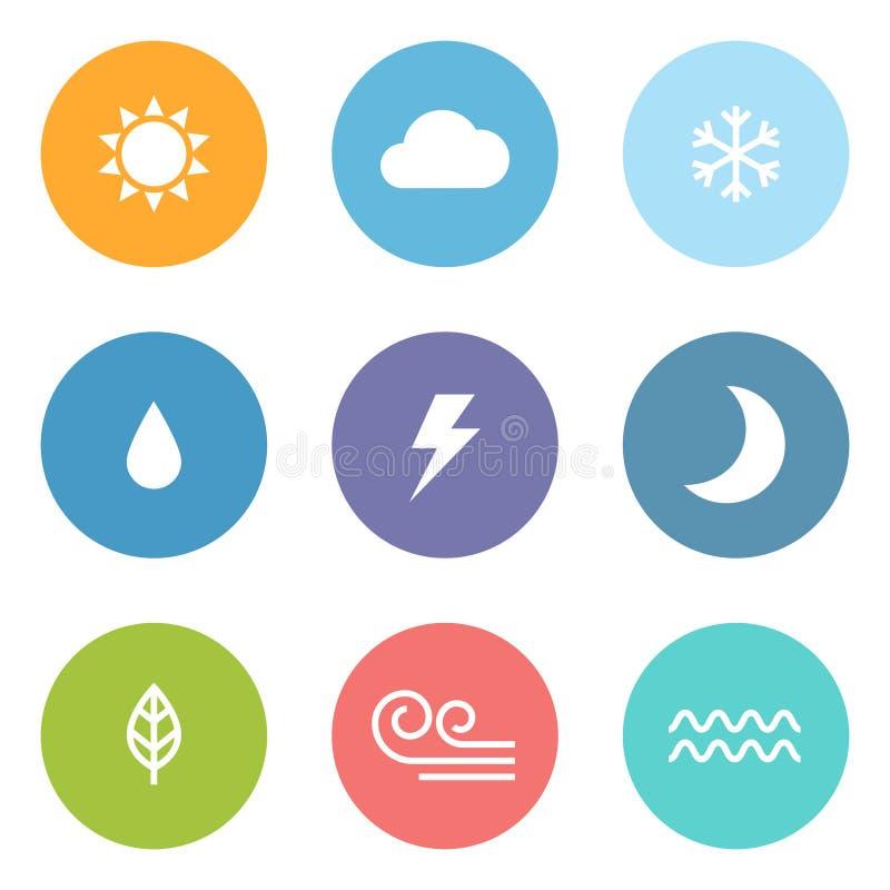 Плоские значки погоды стиля иллюстрация штока