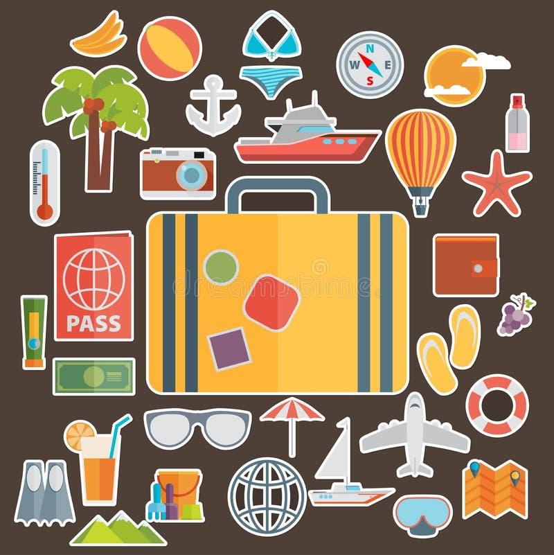 Плоские значки установили путешествовать на самолете, планирующ лето бесплатная иллюстрация