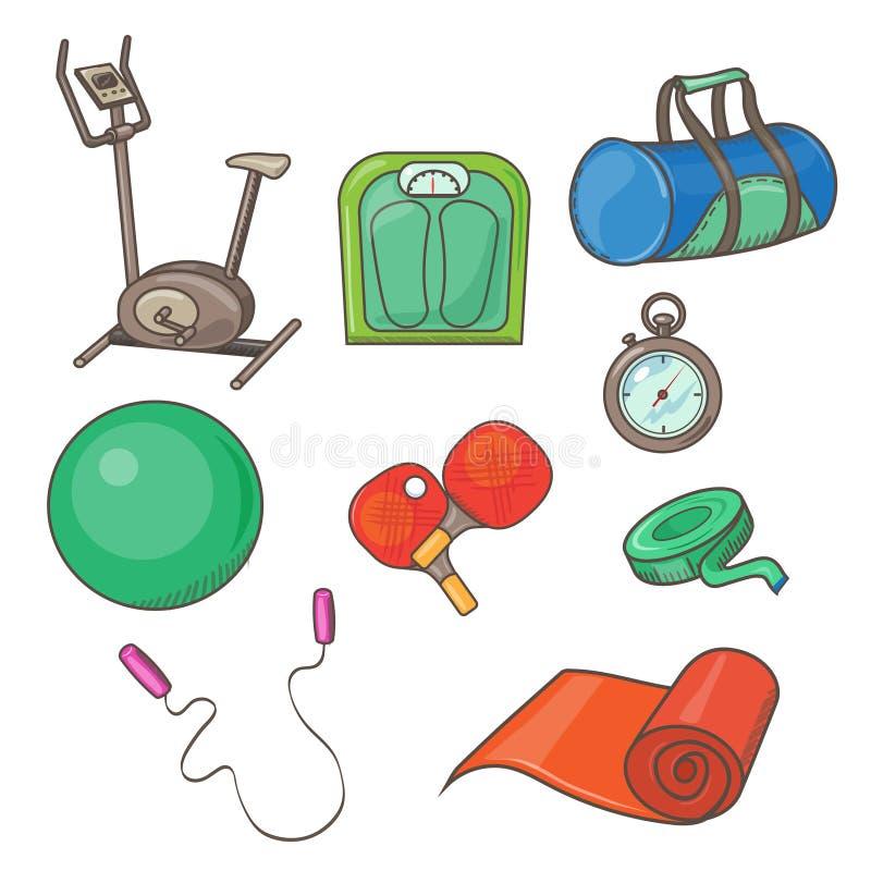Плоские значки установленные инструментов и элементов фитнеса иллюстрация штока