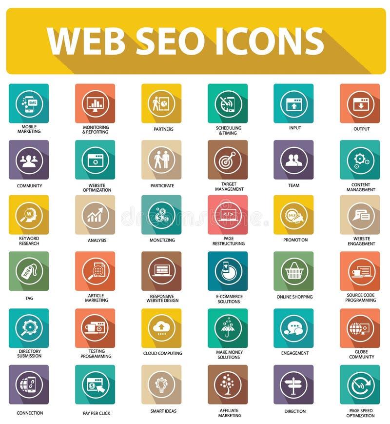 Плоские значки seo вебсайта, красочная версия бесплатная иллюстрация