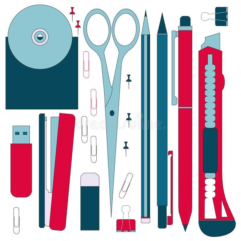 Плоские инструменты канцелярских принадлежностей, комплект ручки Ручка, карандаш, ножницы, собрание Ручки vector комплект Школа п стоковое фото