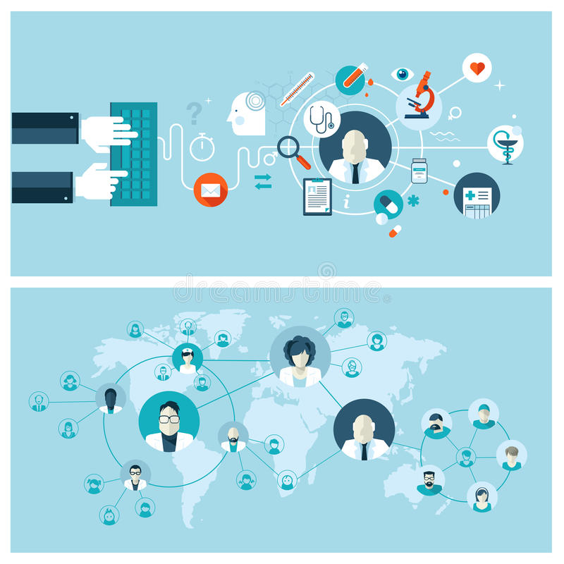Плоские идеи проекта для онлайн медицинских обслуживаний иллюстрация вектора