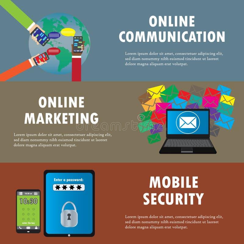 Плоские идеи проекта для онлайн сообщения, маркетинг электронной почты, бесплатная иллюстрация