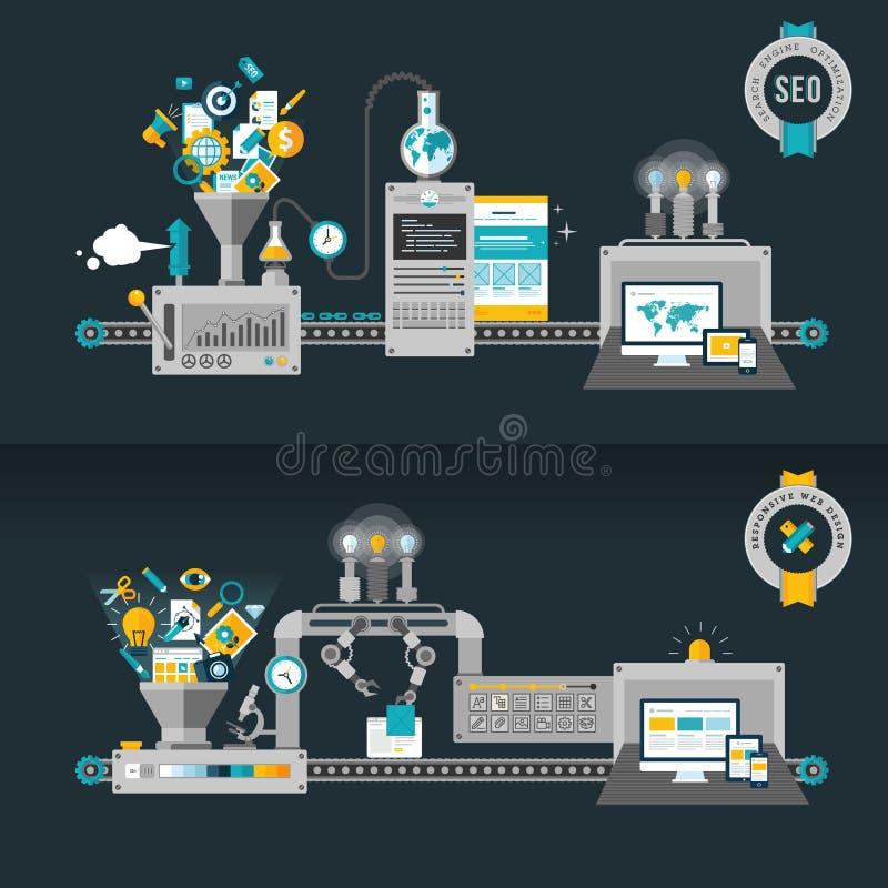 Плоские идеи проекта для сети и SEO бесплатная иллюстрация