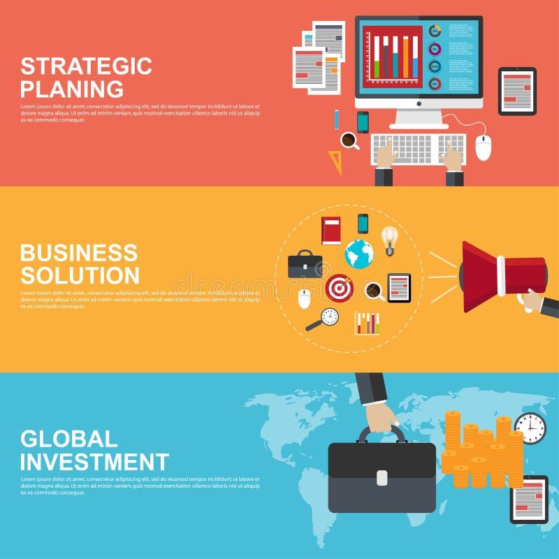 Плоские идеи проекта для стратегического планирования, глобального вклада и решения дела бесплатная иллюстрация