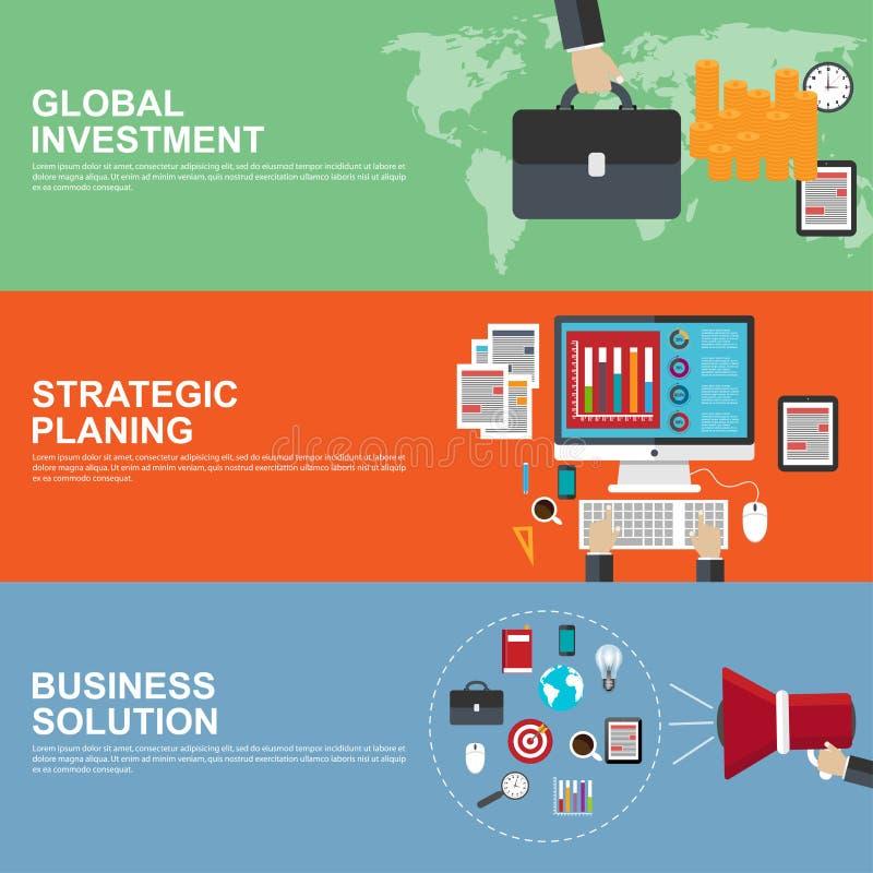 Плоские идеи проекта для стратегического планирования, глобального вклада и решения дела иллюстрация штока