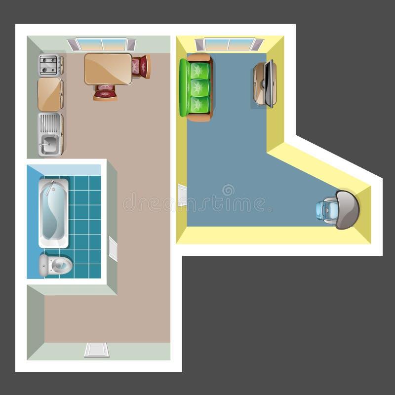 Плоские комнаты внутренние с взгляд сверху мебели бесплатная иллюстрация