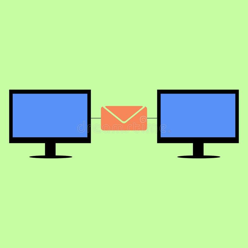 Плоские компьютеры стиля соединенные с почтой бесплатная иллюстрация