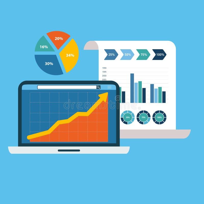 Плоские концепции иллюстрации дизайна для анализа возможностей производства и сбыта, финансового отчета, советовать с, работы ком иллюстрация вектора