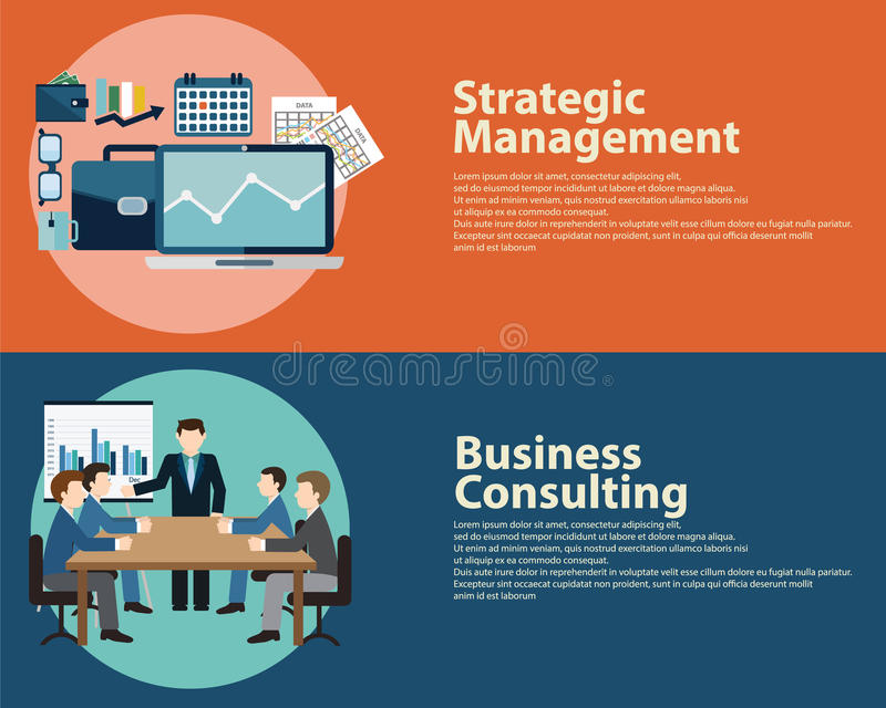 Плоские концепция управления стратегии успеха в бизнесе стиля и консультации по бизнесу Установленные шаблоны знамен сети иллюстрация штока