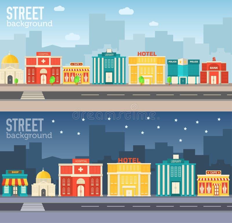 Плоские красочные установленные здания sity вектора иконы иллюстрация вектора