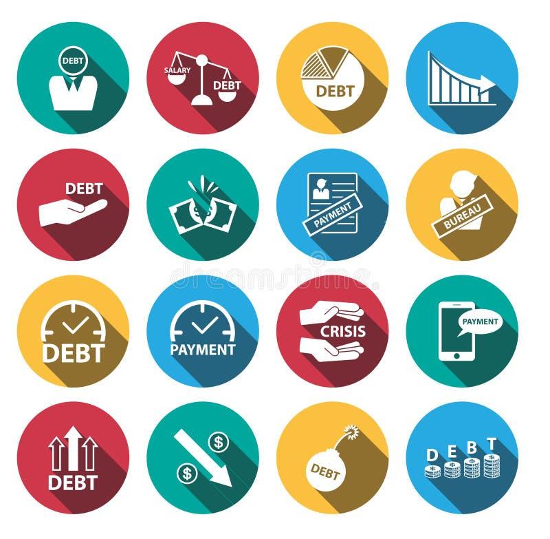 Плоские кризис денег тени и комплект значка задолженности иллюстрация вектора