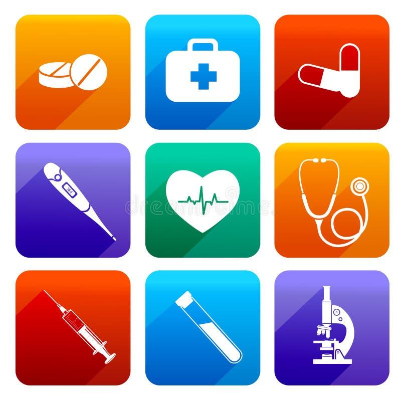Плоские медицинские значки иллюстрация штока