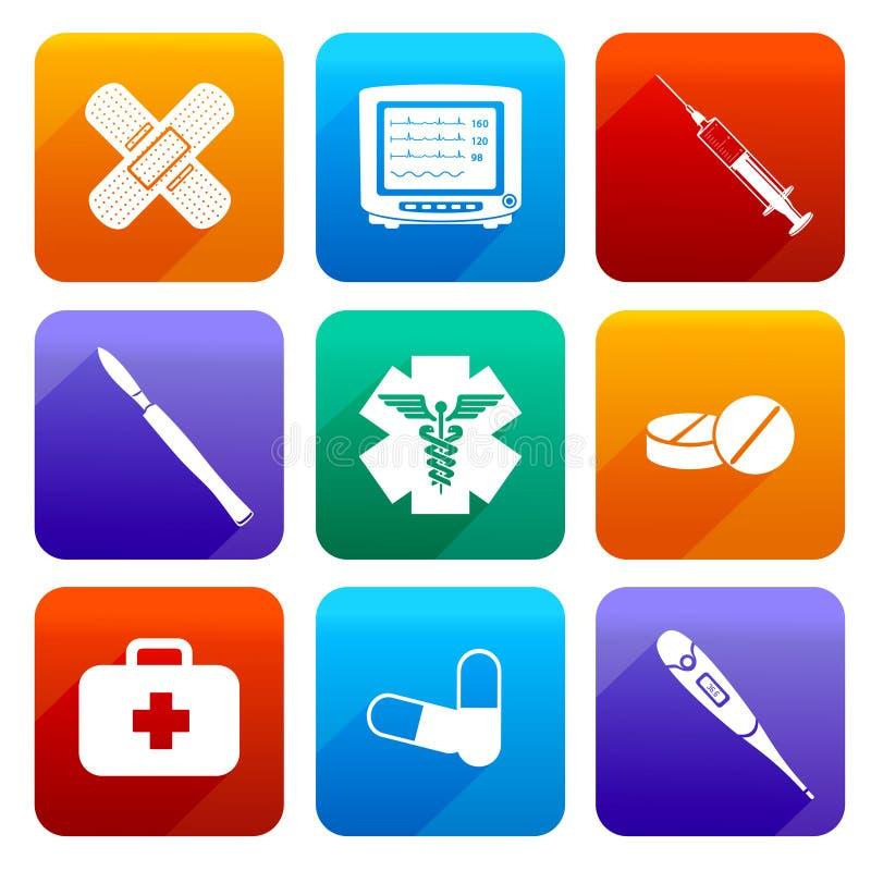 Плоские медицинские значки бесплатная иллюстрация