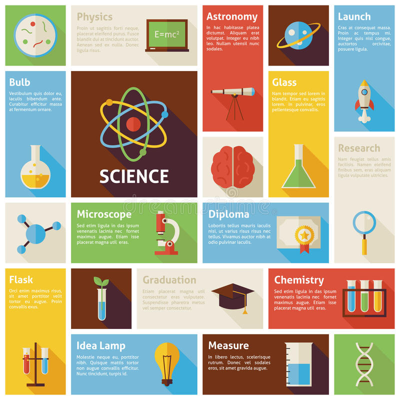 Плоские наука Infographic значков вектора дизайна и образование Conce иллюстрация штока