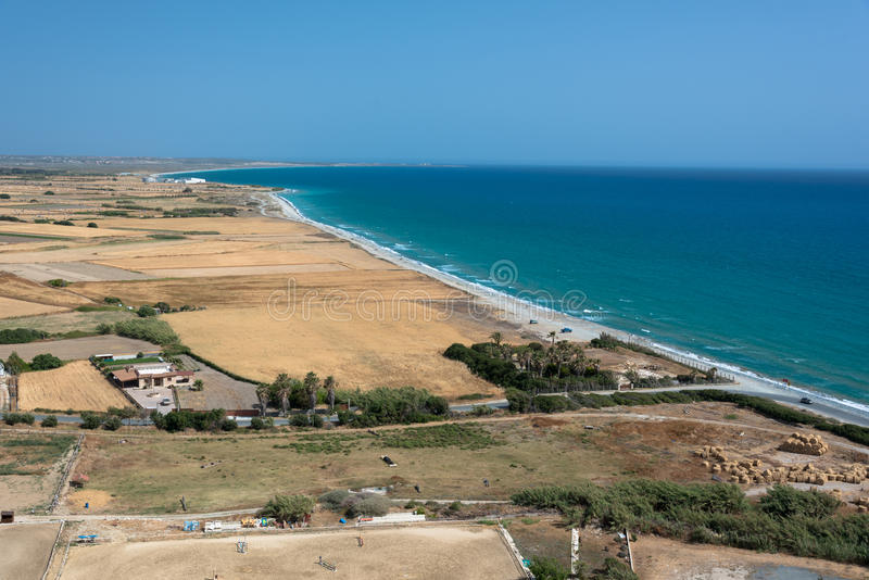 Плоские поля Kourion, Кипра стоковая фотография rf