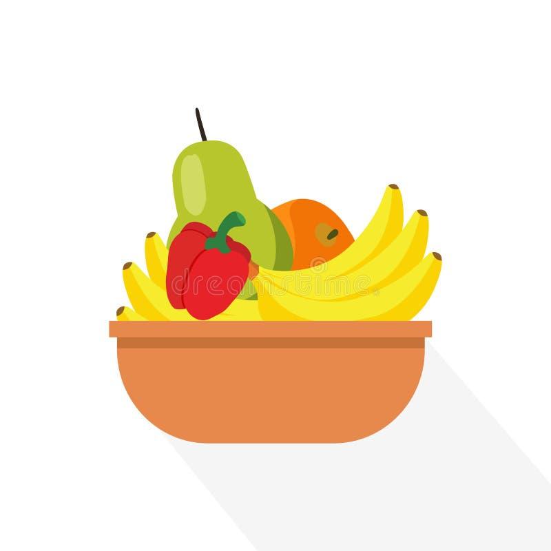 Плоские плодоовощи в корзине с длинной тенью иллюстрация вектора