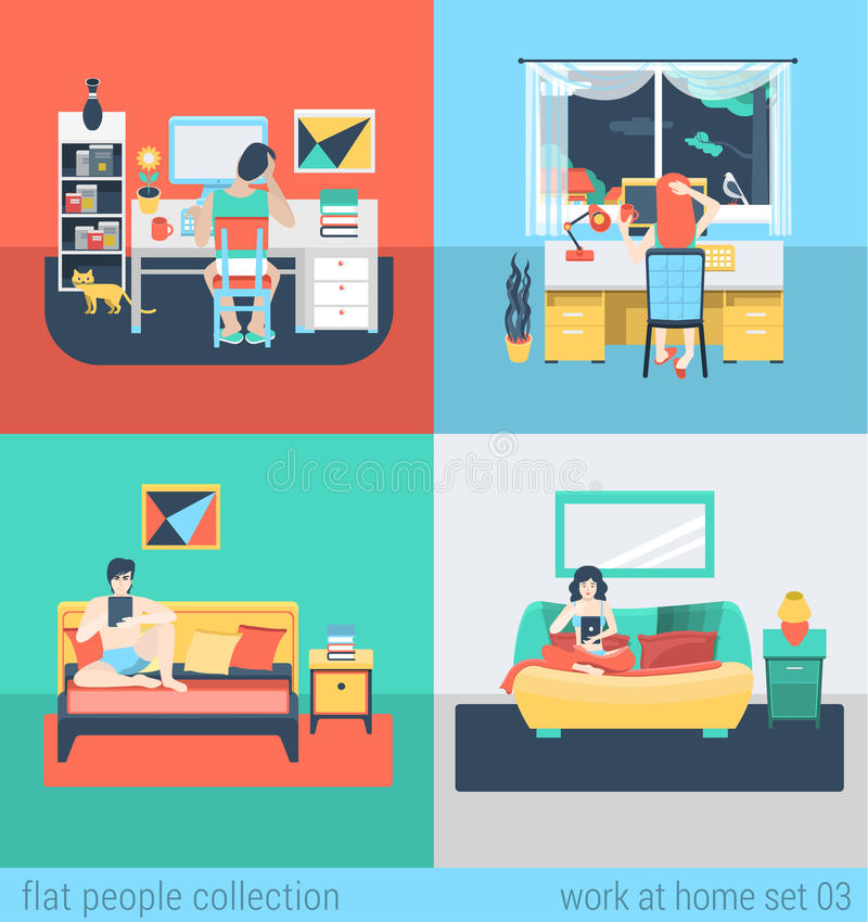 Плоские рабочее место и мебель дома вектора иллюстрация вектора