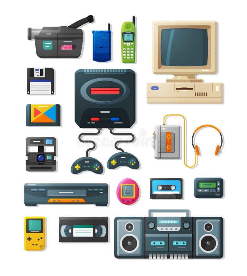 Плоские ретро устройства 90s иллюстрация вектора