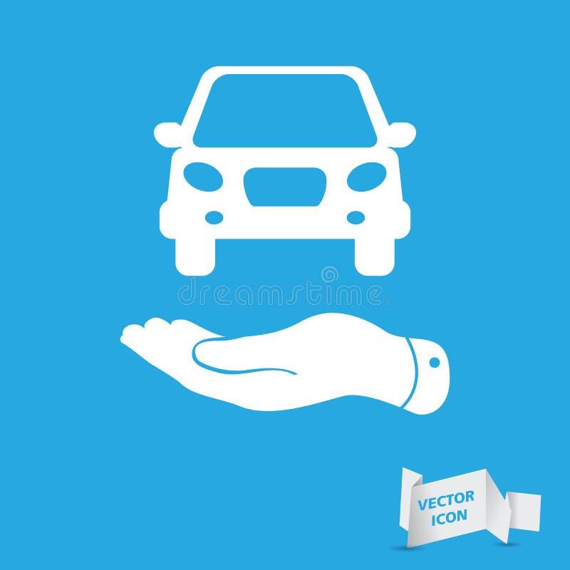 Плоские руки показывая белый значок автомобиля иллюстрация штока