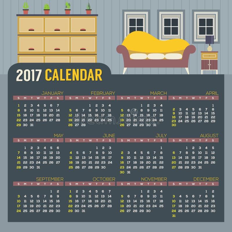 Плоские старты воскресенье календаря живущей комнаты 2017 дизайна Printable иллюстрация вектора