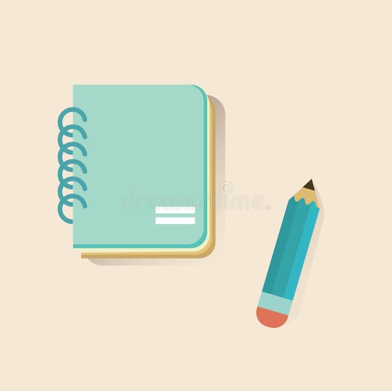 Плоские тетрадь и карандаш бесплатная иллюстрация