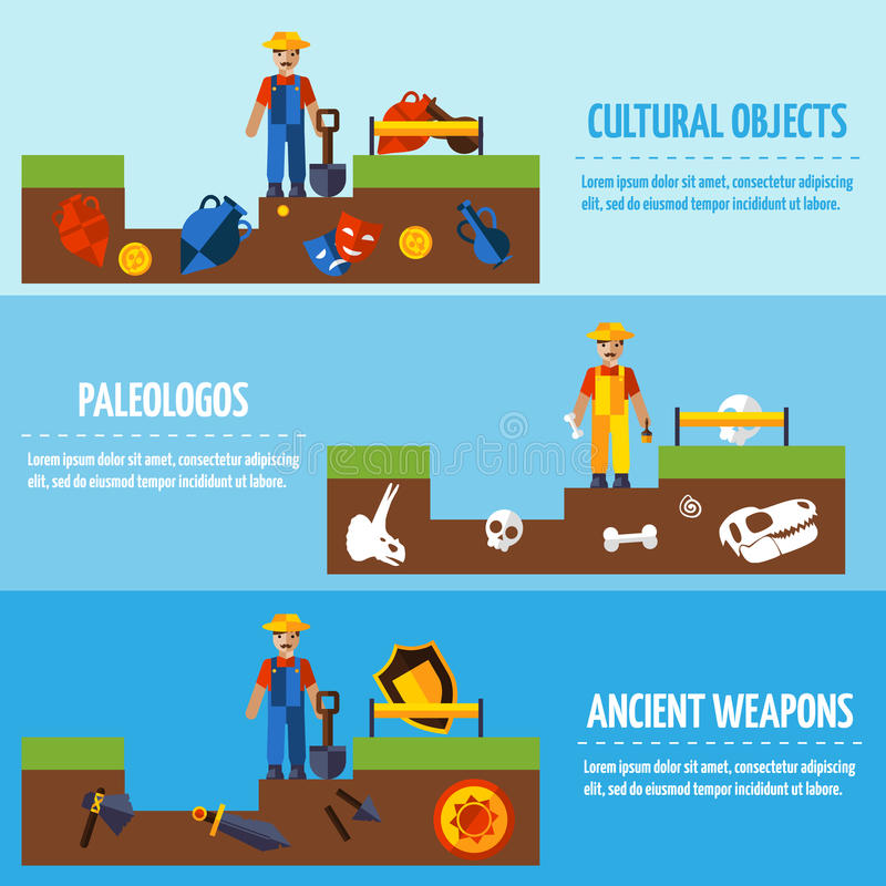 Плоские установленные знамена археологии цвета иллюстрация штока