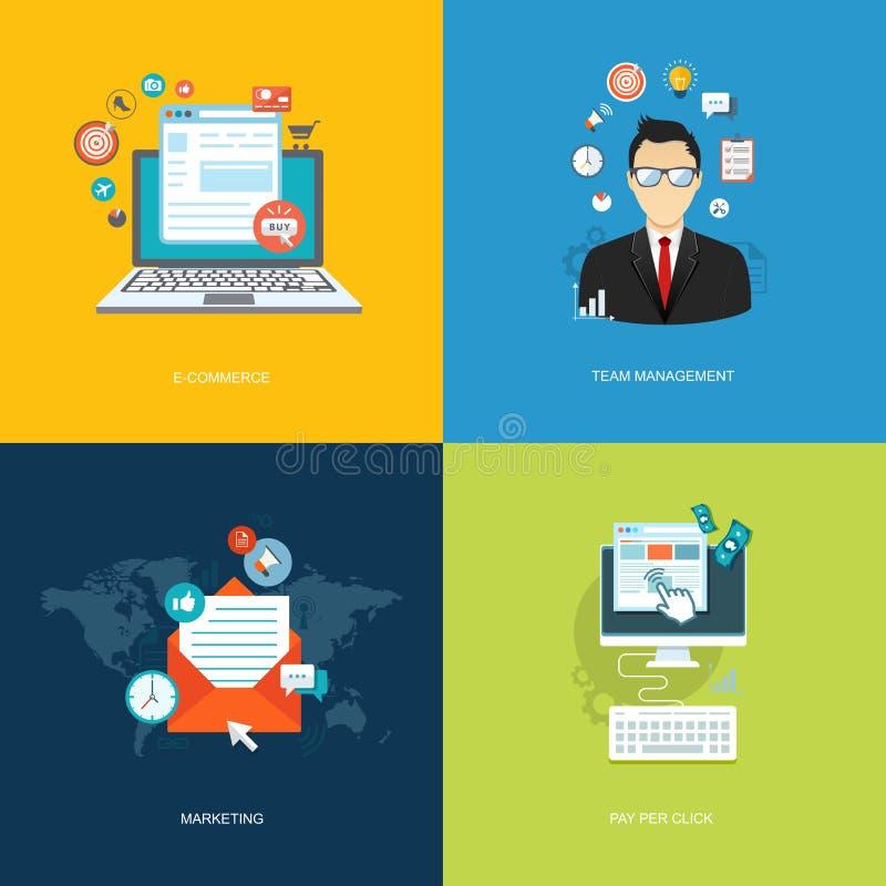 Плоские установленные знамена интернета Управление команды, маркетинг, e-commerc иллюстрация штока
