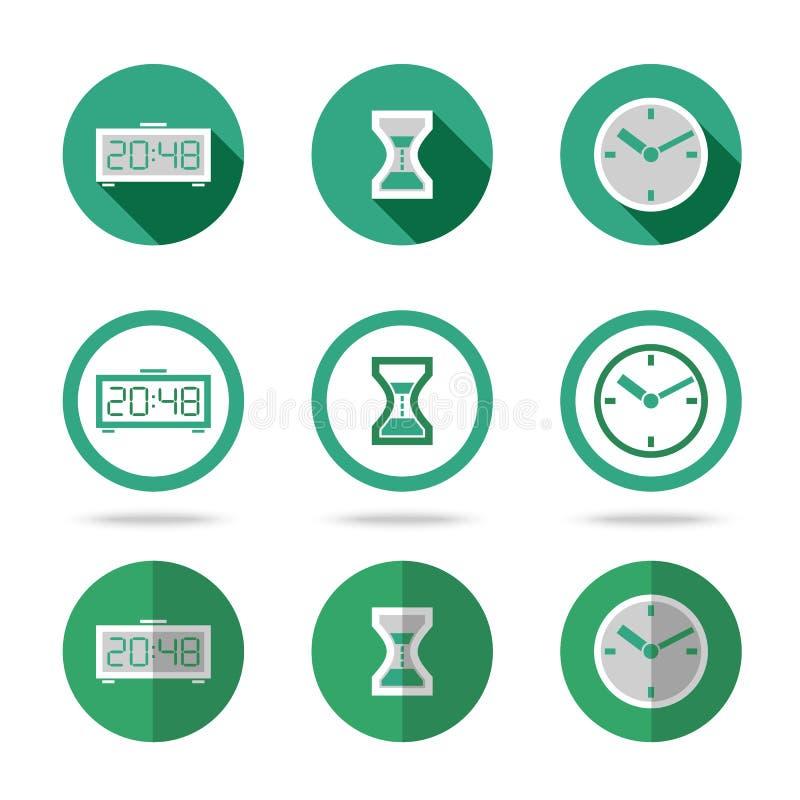 Плоские установленные значки времени Различные виды плоского стиля иллюстрация вектора
