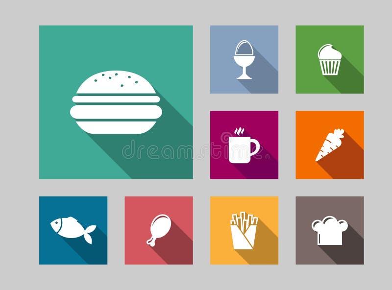 Плоские установленные значки еды иллюстрация вектора