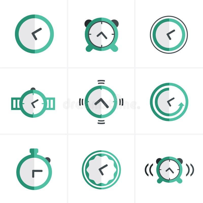 Плоские установленные значки, дизайн таймера значка вектора иллюстрация вектора