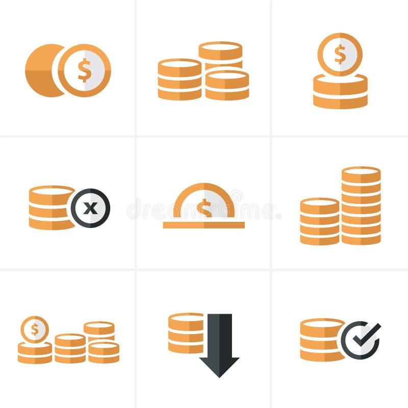 Плоские установленные значки, цвет монеток значка черноты дизайна вектора стоковое изображение